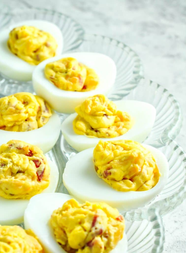 Low Carb Deviled Eggs with Bacon and Cheddar Cheese - Keto Recipes