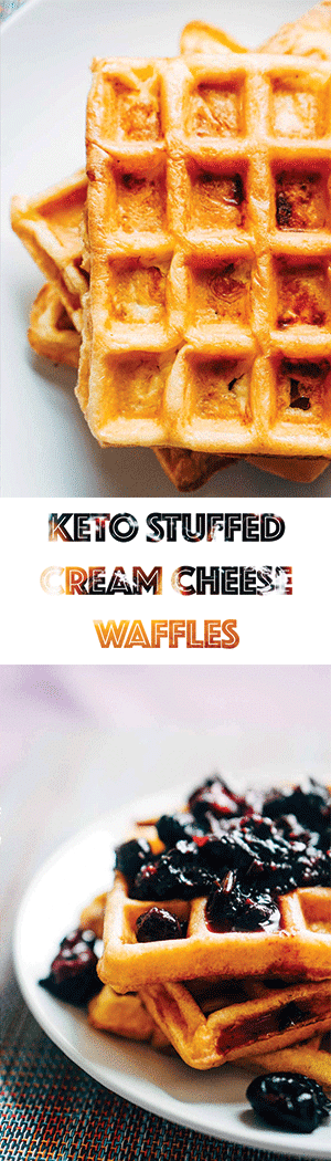 Keto Waffles Recipe Stuffed with Cream Cheese - Low Carb & Gluten Free
