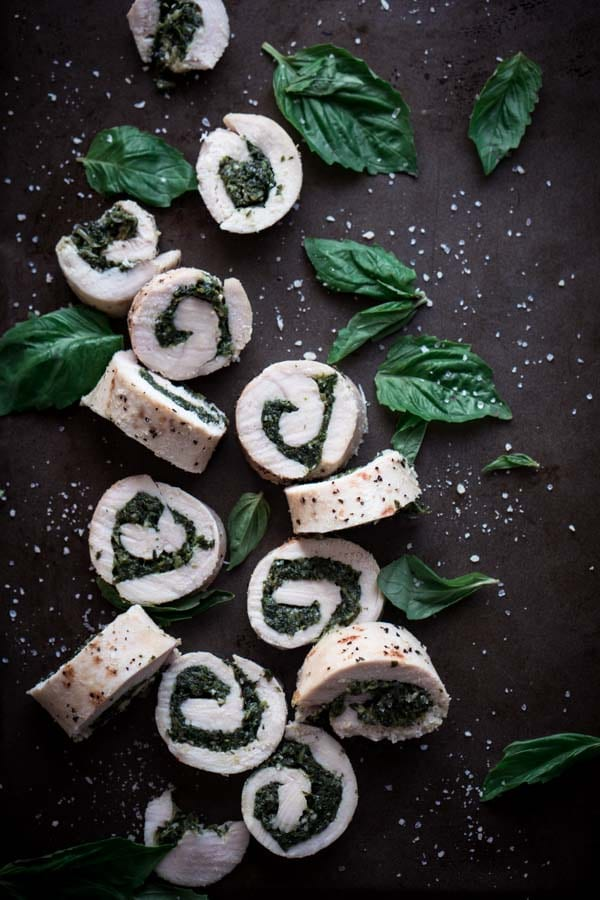 Keto Sous Vide Recipes - Low Carb Chicken Roulade with Spinach Basil Pesto