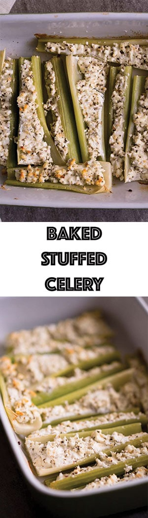 Baked Stuffed Celery Recipe with Goat Cheese, Garlic, & Basil - Keto Friendly, Low Carb Snack and Side Dish