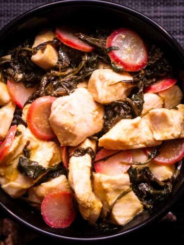 Easy Mustard Chicken with Radish & Greens Recipe - Low Carb, Keto, Dairy-free