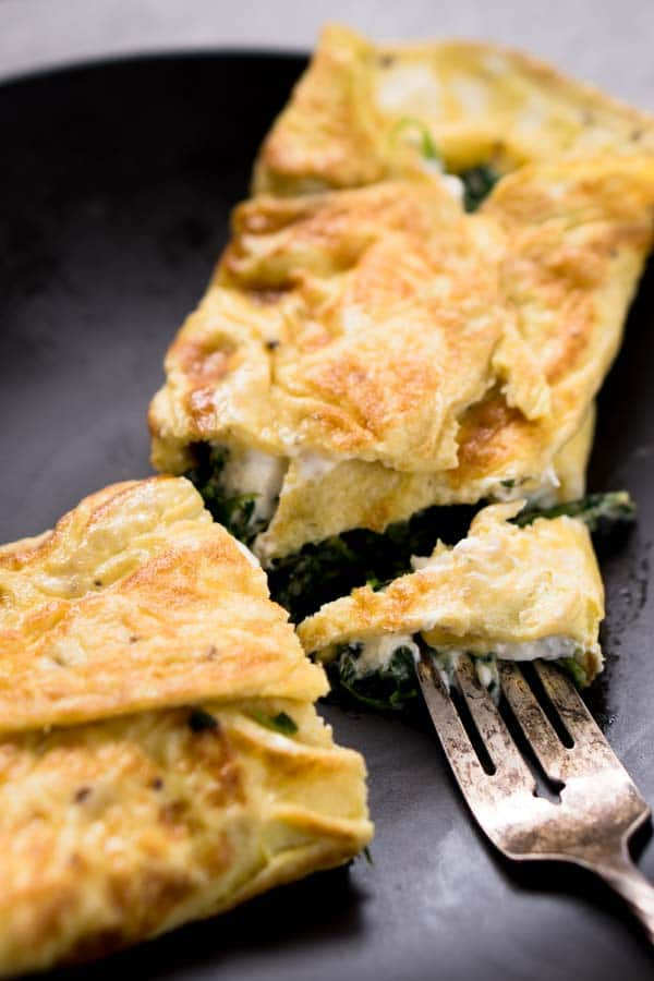 Tangy Goat Cheese Omelet with Spinach, Garlic, Thyme, & Chili Flakes | Low Carb Keto Recipe