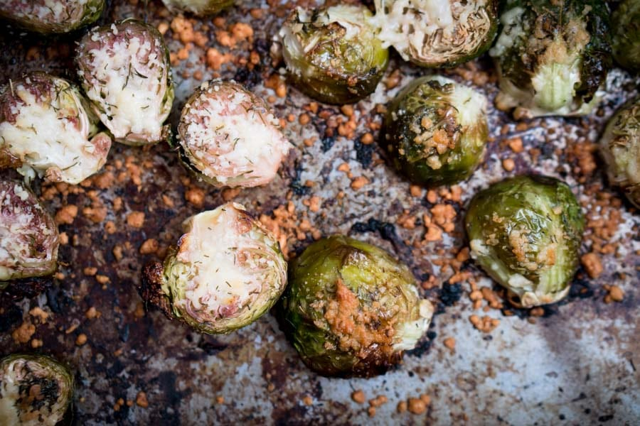 Low Carb Parmesan Crusted Brussels Sprouts with Lemon, Dill, and Olive Oil