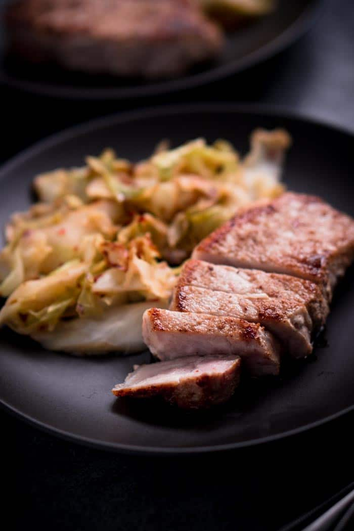 Low Carb Pork Chops and Cabbage Recipe - Keto Friendly, Gluten Free, Dairy Free