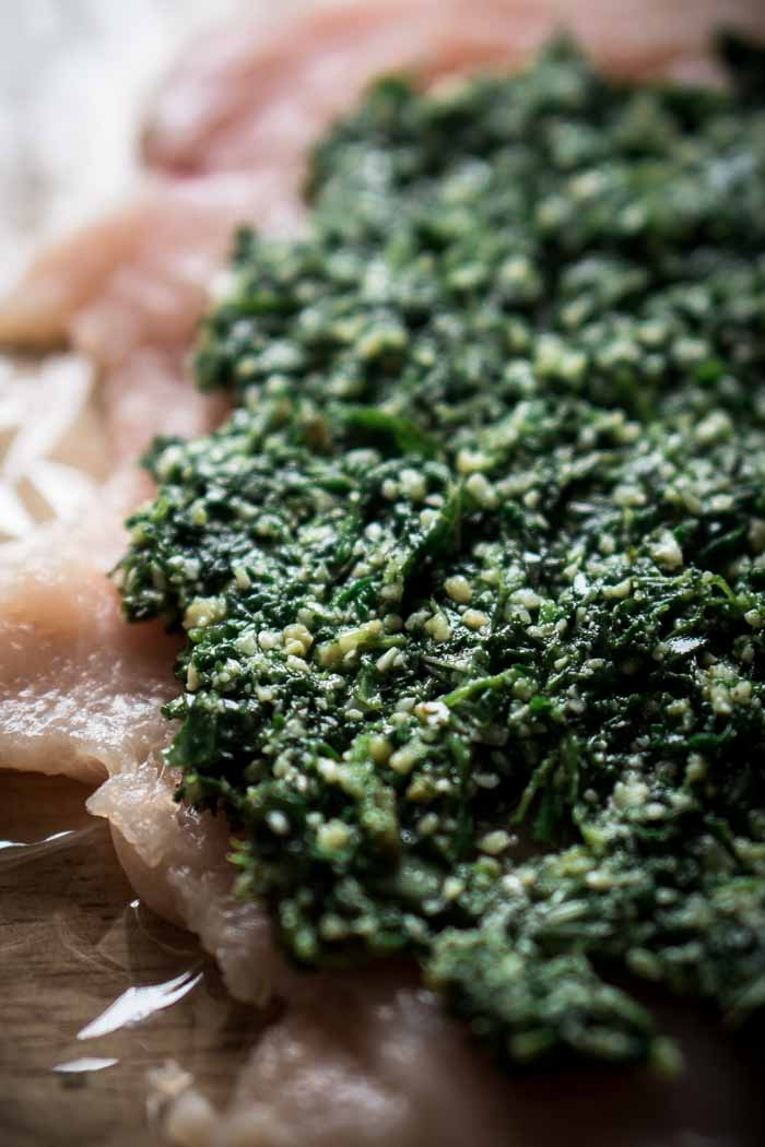 Basil Spinach Pesto Recipe without Nuts - Stuffing meat with pesto - Keto Sauces, Low Carb