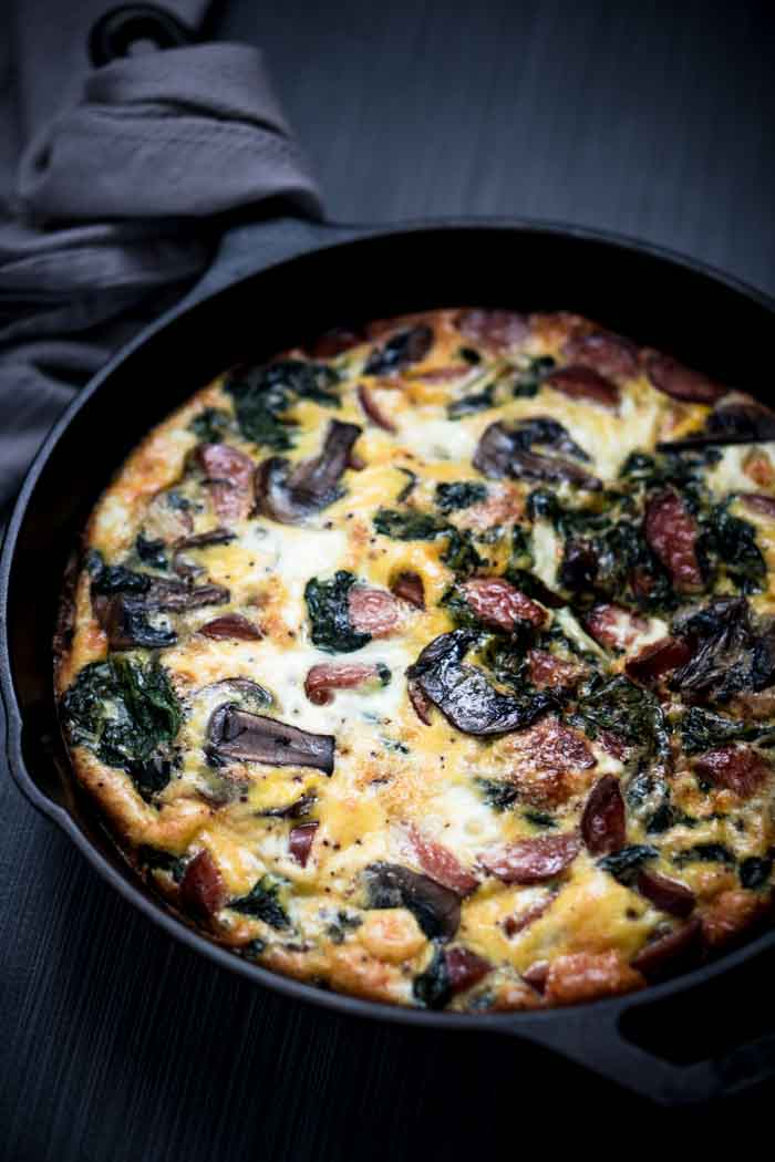 Sausage Spinach Frittata Recipe with Mushrooms - Low Carb, Keto, Dairy Free, Gluten Free