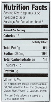 nutrition label from McCormick Original Taco Seasoning Packet