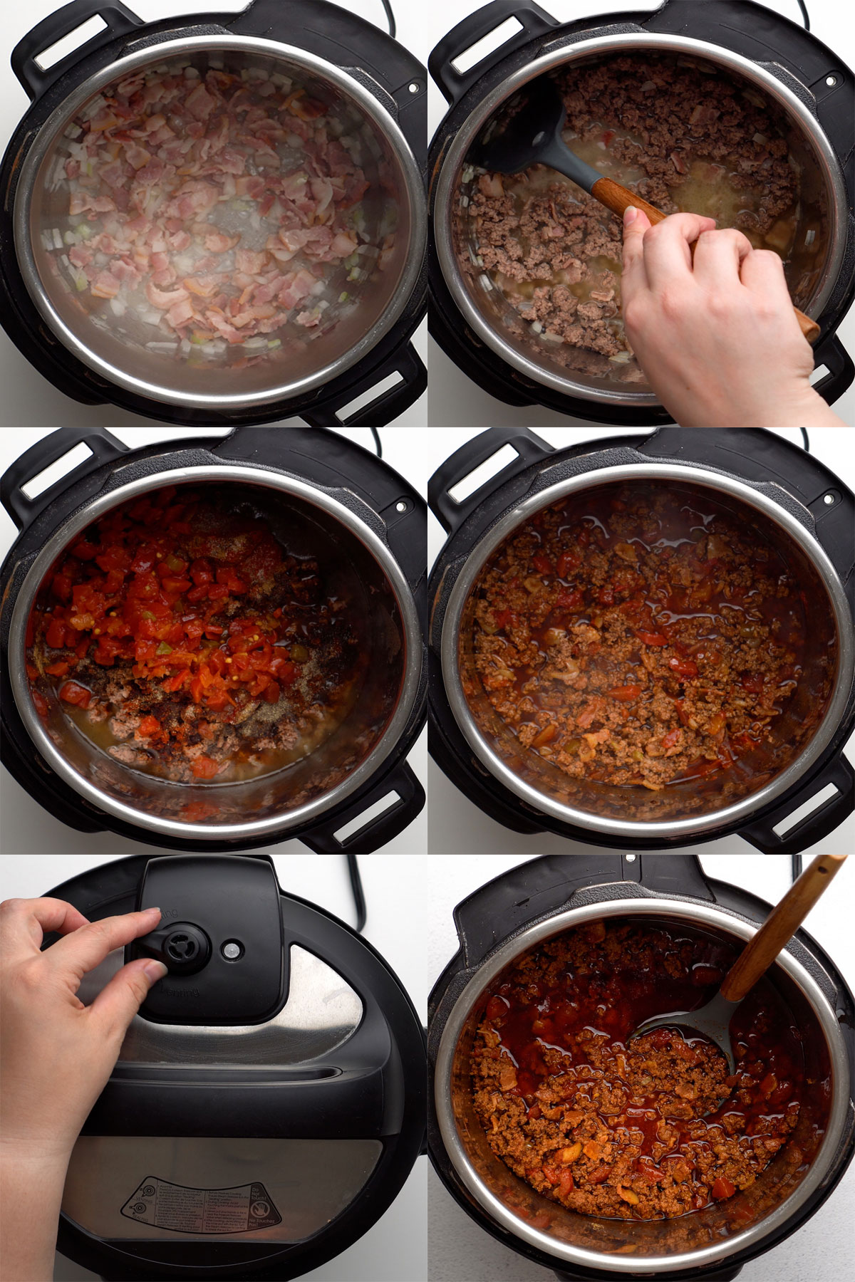 Step-by-step instructions for chili con carne recipe in Instant Pot (IP).