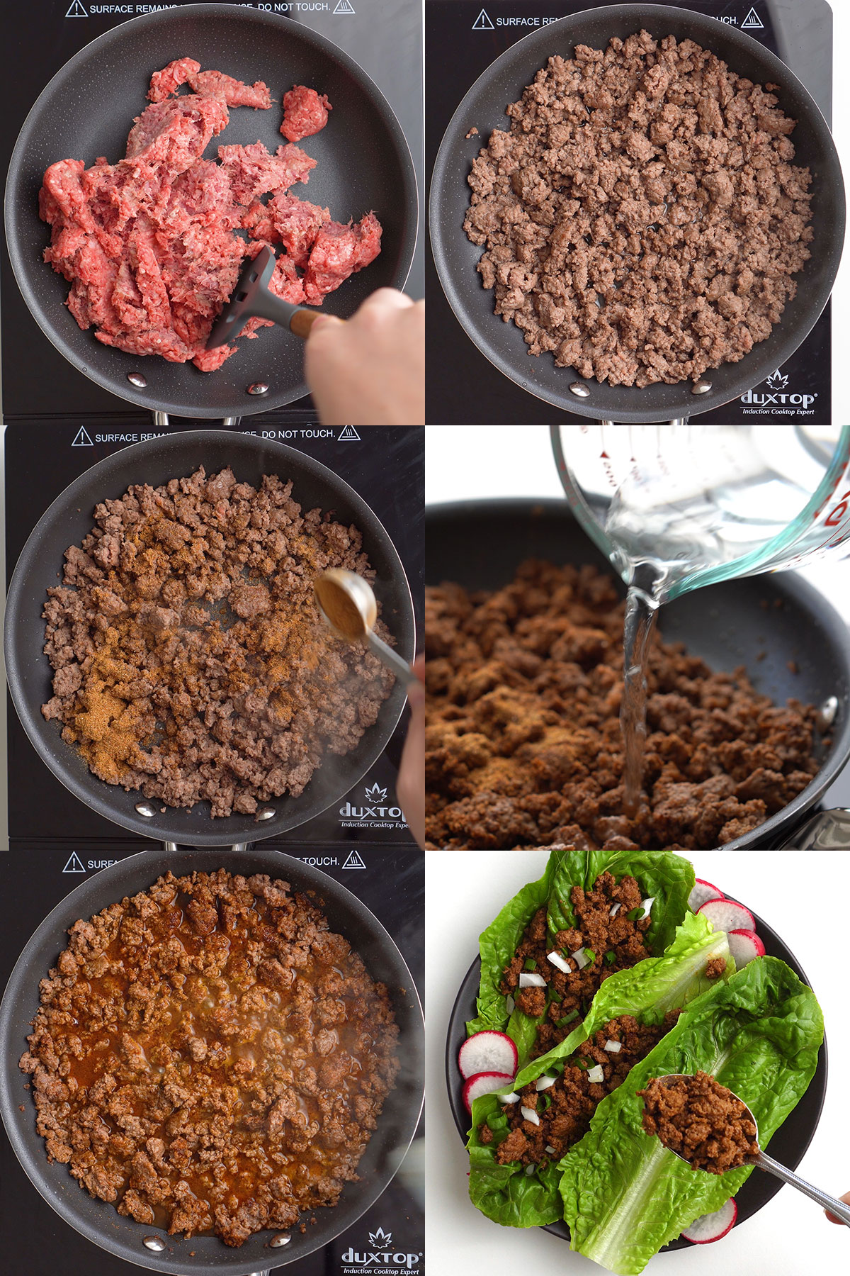 Photo collage of taco meat preparation steps.