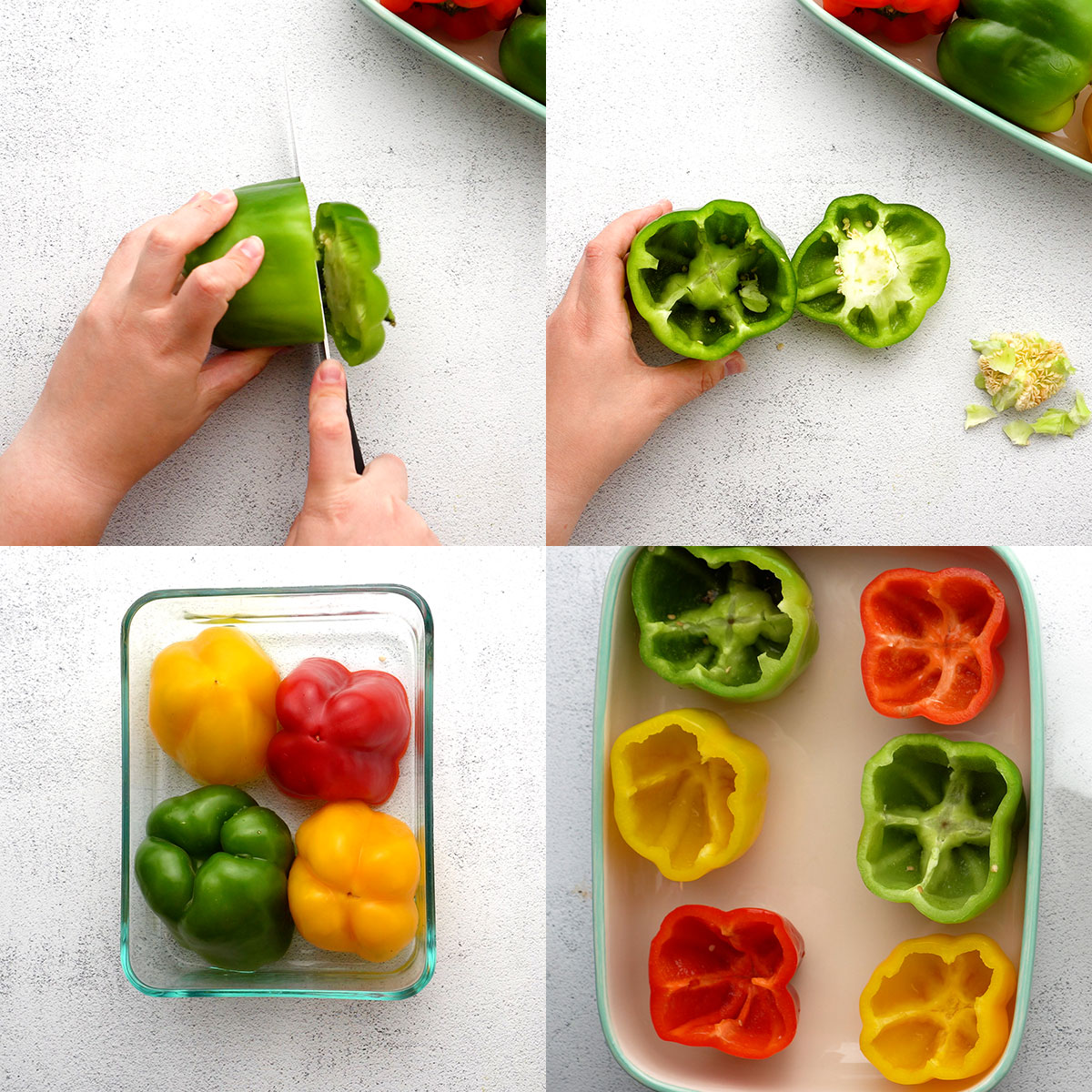 Step by step instruction of cutting tops off of bell peppers, scooping out seeds, pre-cooking in dish, and placing in casserole dish to fill and bake.