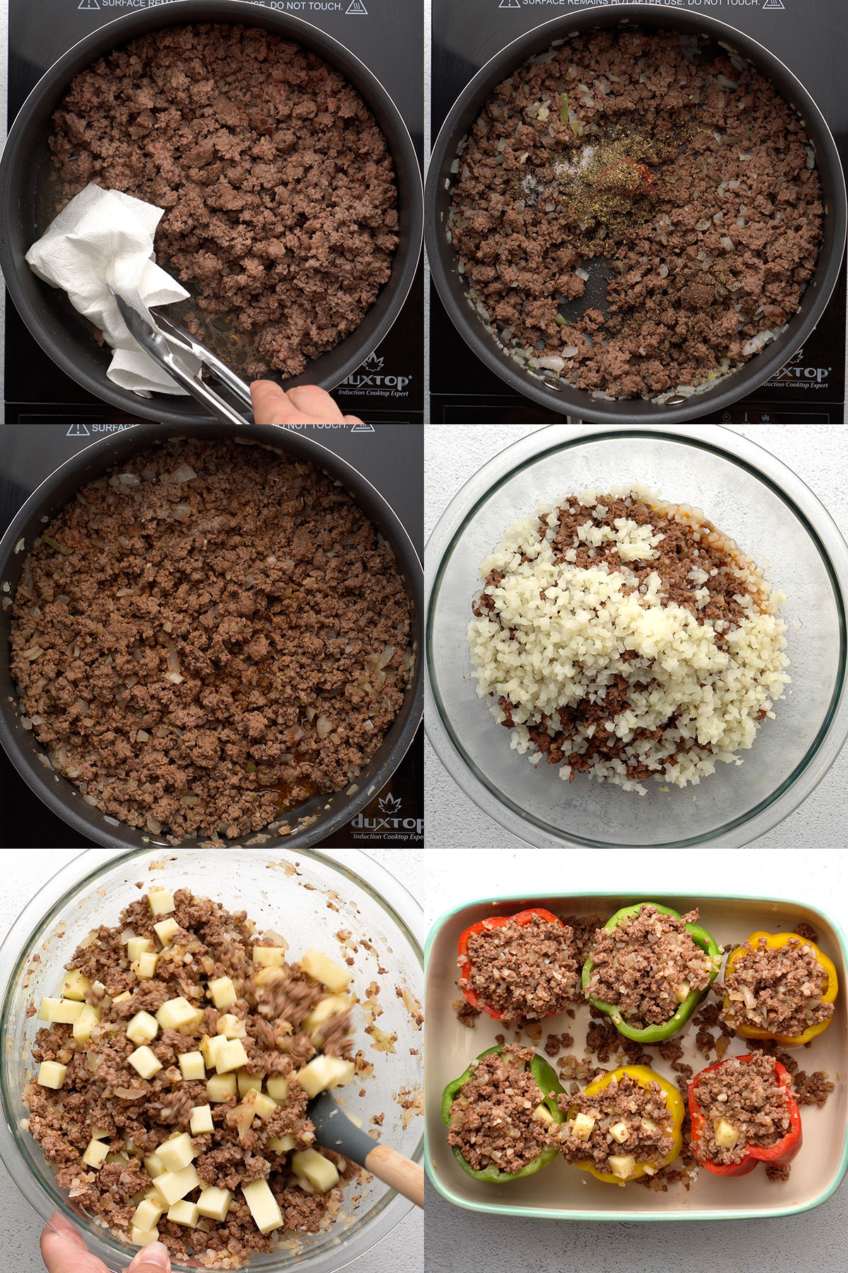 Step by step process photos of making the ground beef filling with vegetables and cheese.