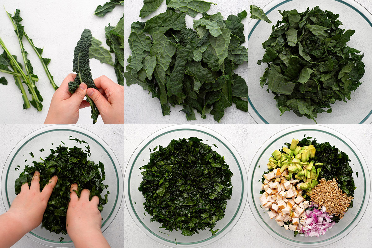 Step by step process of preparing and massaging kale leaves for salad.